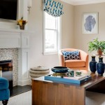 family friendly living room, coral and blue